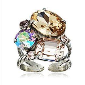 Sorrelli MIRAGE Emerald Cluster Ring